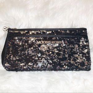 Victoria's Secret Black Sequin Clutch/Wristlet
